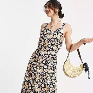 NWT Veromoda Cami Midi Dress In Black Floral